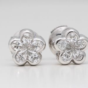 18K White Pear Diamond Studs 0.97 Ct C19000277